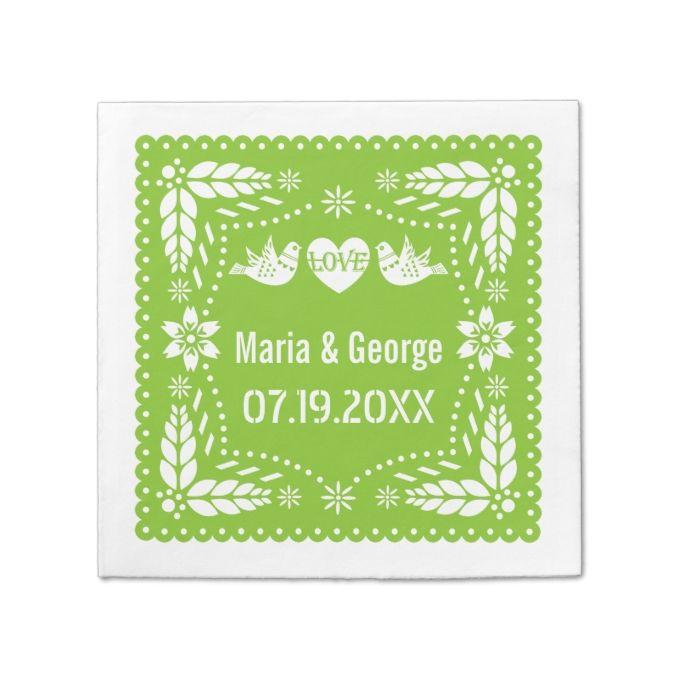 Papel picado love birds lime green wedding fiesta standard cocktail napkin
