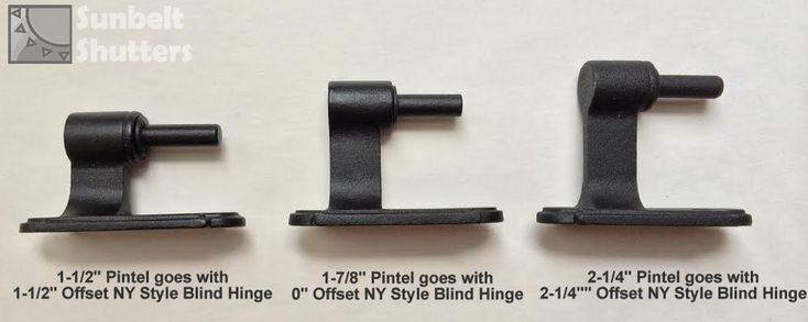 """Trying to decide which functional hinge to use, and what offset is needed.  Here 3 pintels are compared showing their offsets.  The 1-1/2"""" NY Style Blind Hinge set is typically used for Frame Application where the hinge has the same 1-1/2"""" offset for a total 3"""" throw.  The 2-1/4"""" offset hinge set is typically used for Brick application. It's hinge has the same 2-1/4"""" offset for a total 4-1/2"""" throw.  The 0"""" offset hinge's pintel has a 1-7/8"""" offset for a total 1-7/8"""" throw for New…"""