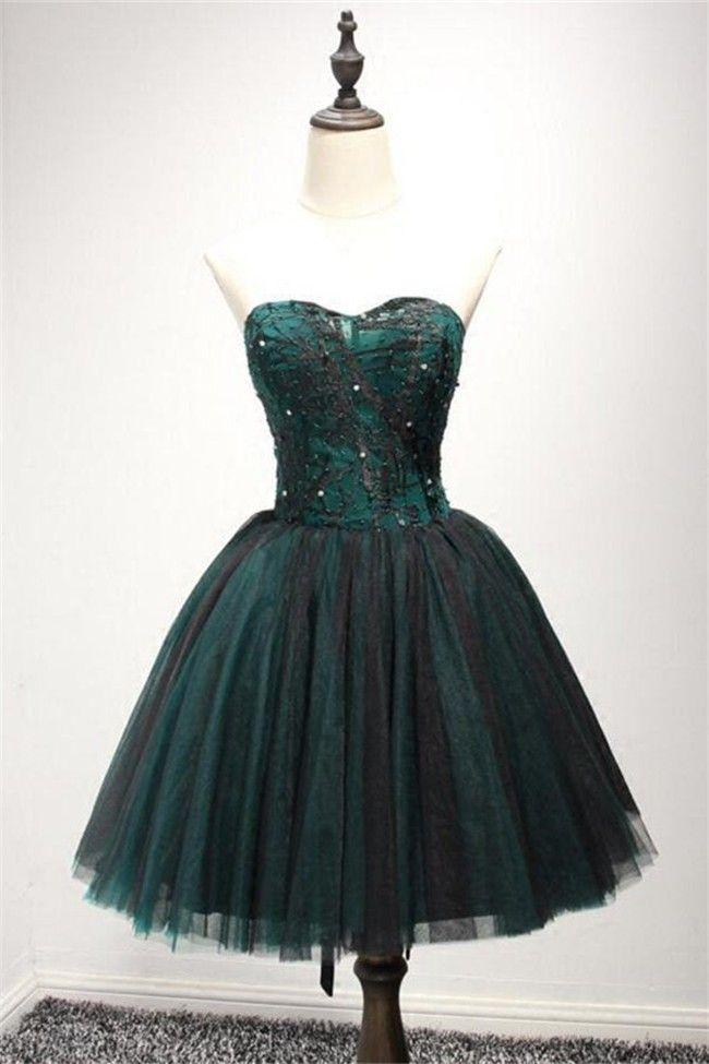 Ball Gown Strapless Green Satin Black Tulle Short Prom Dress ... 76491579d
