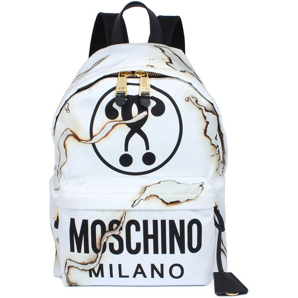 Moschino Backpack With Logo and Scorches ($565) ❤ liked on Polyvore featuring bags, backpacks, white, leather knapsack, moschino backpack, moschino, leather backpack and backpacks bags