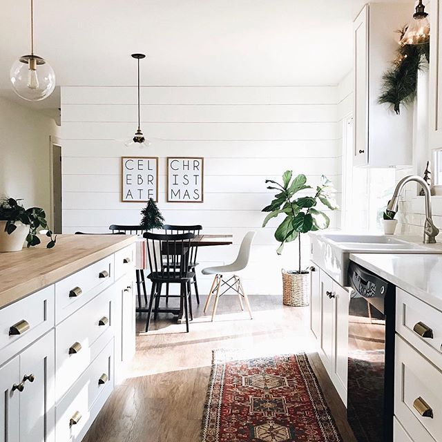 Shiplap + mismatched chairs + white cabinets // Kitchen