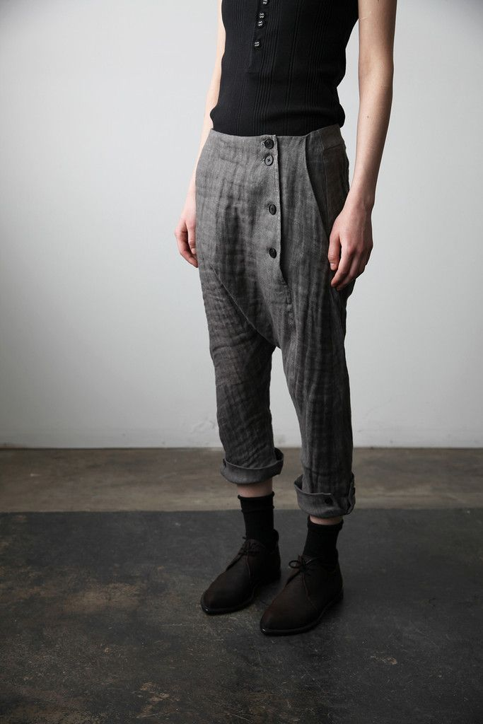 Trousers with Buttoned Hem | cendre