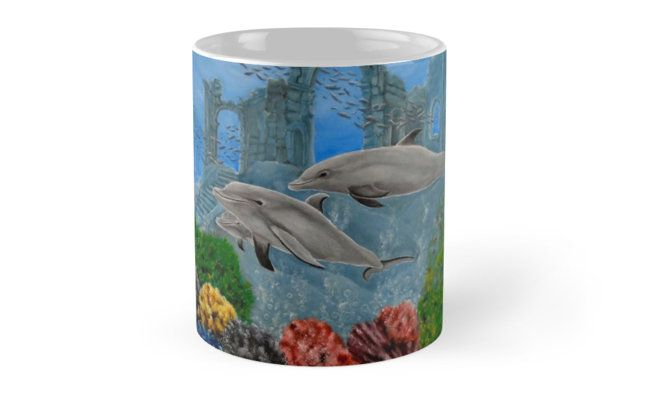 Coffee Mug,  home,kitchen,accessories,cool,beautiful,fun,fancy,unique,trendy,artistic,awesome,unusual,gifts,presents,for sale,design,ideas ,aqua,blue,dolphins,redbubble