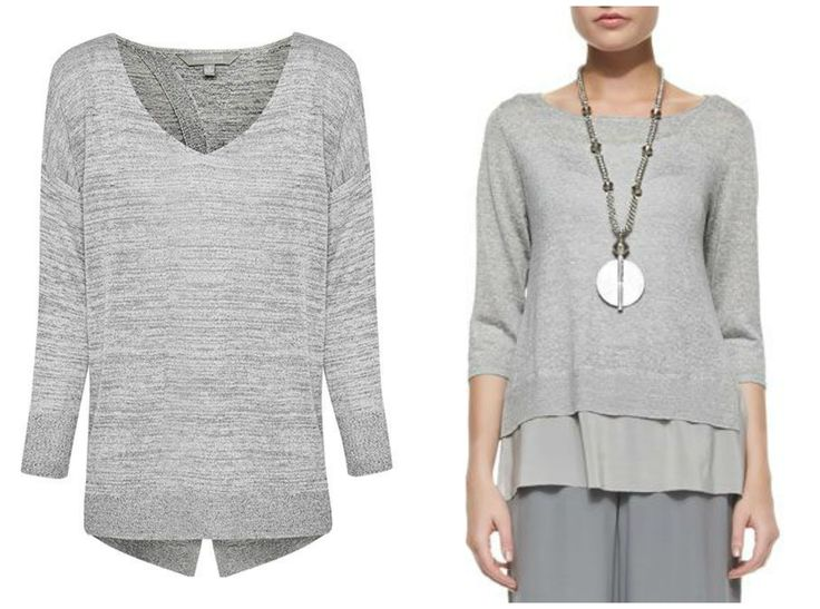 Suzanne Grae on the left (comes with white draped camisole) and Eileen Fisher on the right.