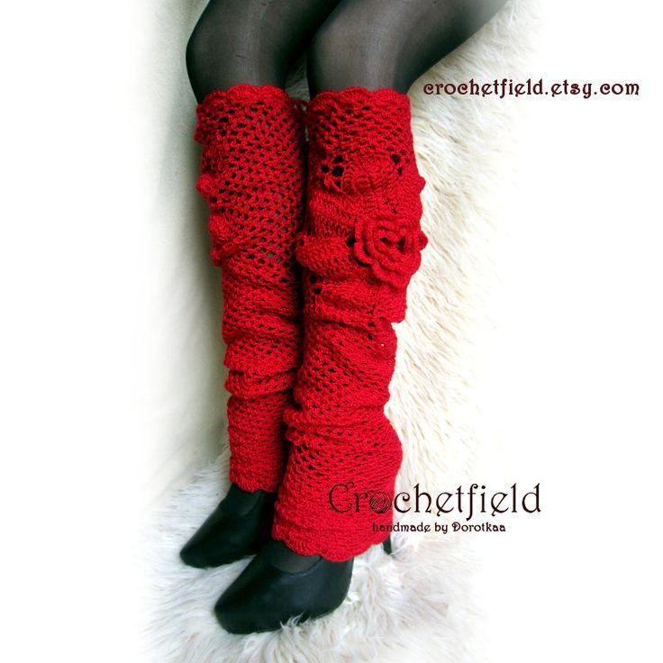 Red Leggings Leg warmers, over knee, high stockings, lace boot socks, Crochet Dance / Ballet Leg Warmers, fitness, Gift for her, flower - pinned by pin4etsy.com