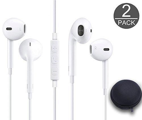 SYCellular 3.5MM Wired Earphones Earbuds Headset Microphone with Carry case / Remote for ios android smartphone devices (W2)