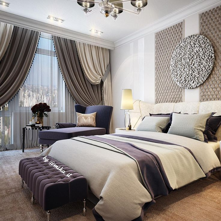 Апартаменты. Спальня хозяйская. Мебель #visionnaire #visionnairehomephilosophy, свет #baroviertoso #barovier. #egorova_marina #domoff_group #domoff_interiors #domof #3dvisualization #3dmaxdesign #vrayrender #3dviz #luxuryinterior #luxuryinteriors