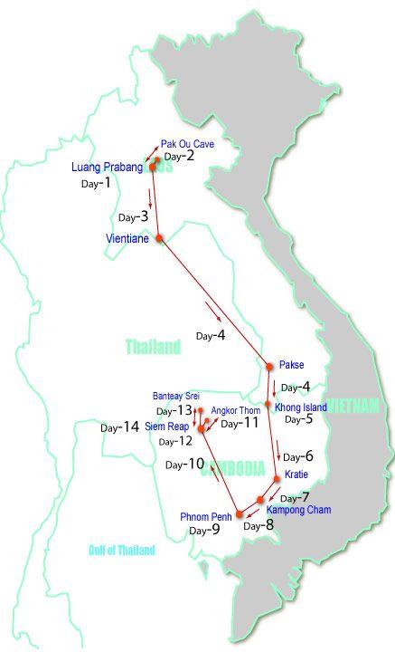 Cambodia:Kratie, Kompong Cham, Phnom Penh, Siem Reap, Angkor Thom, Banteay Srei Laos:Luang Prabang, Vientiane, Pakse, Khong Island 14 days