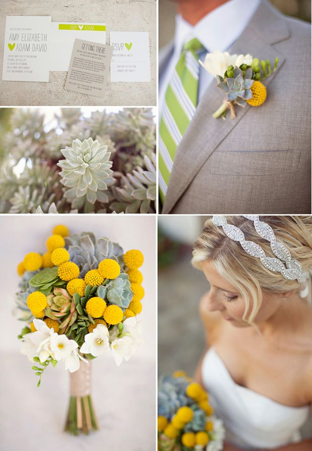green and yellow wedding with a crapsedia and succulent bouquet. #greenandyellow