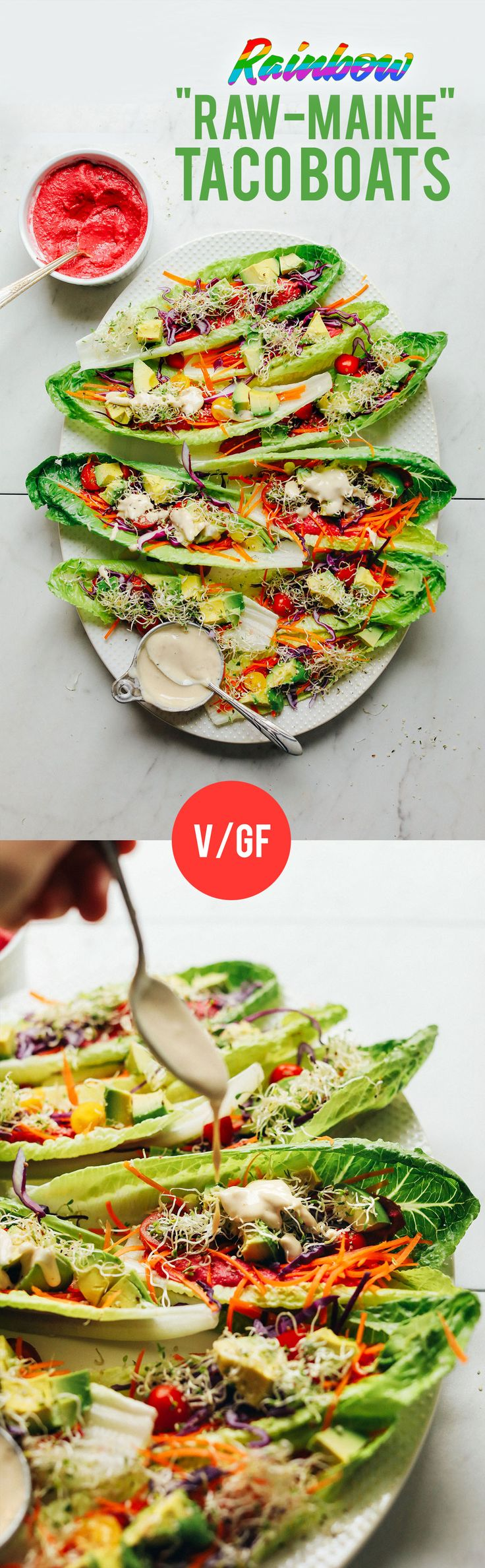 AMAZING Raw-Maine Taco Boats! 15 minutes, no cooking required! These are a perfect summer lunch or dinner idea when you're on Dr. Fuhrman's 6-week Eat to Live nutritarian plan! You can easily make the tahini sauce compliant by leaving out the maple syrup and replacing with 1 or 2 pitted dates! xo, Kristen