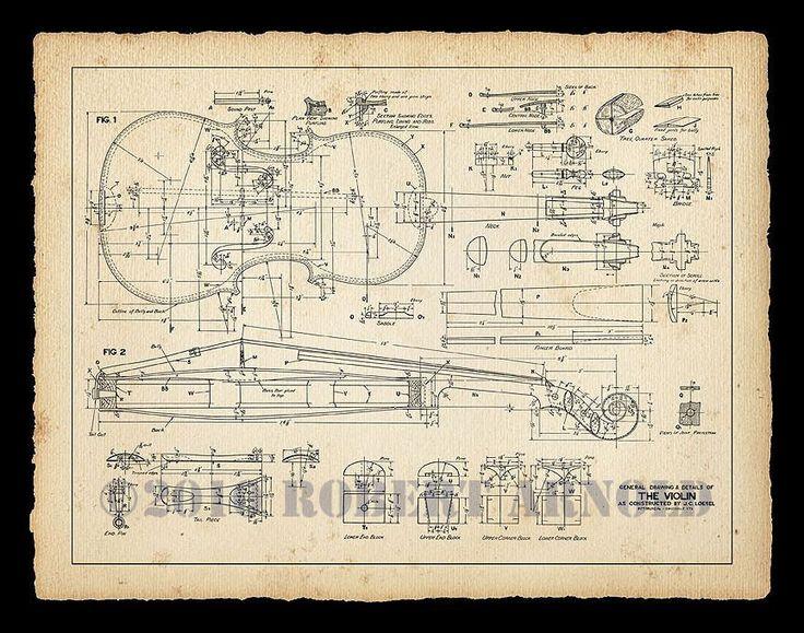 "Color Print of a 19th Century Violin Maker's Plans - 11"" x 14"". $15.00, via Etsy. Lashof Violins"