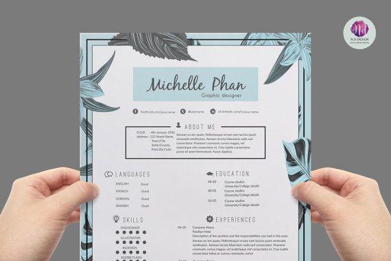 CV  template / resume template cover letter por ChicTemplates