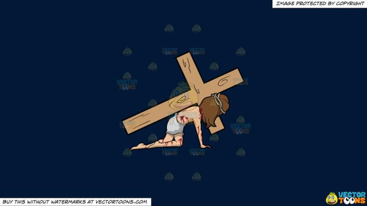 Christ Dragging A Cross On A Solid Dark Blue 011936 Background:   A male religious icon with brown hair wearing a tattered white loincloth a brown thorn crown body tainted with blood streaks falls down on the floor while carrying a big wooden cross on his left shoulder