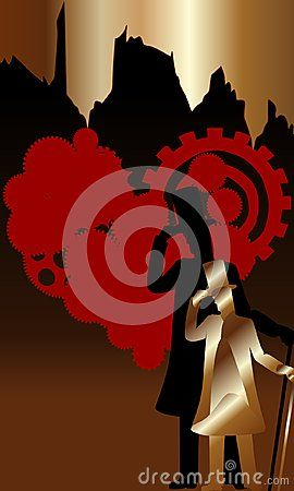 Red hearts with bronze man silhouette on bronze and black backgrounds.