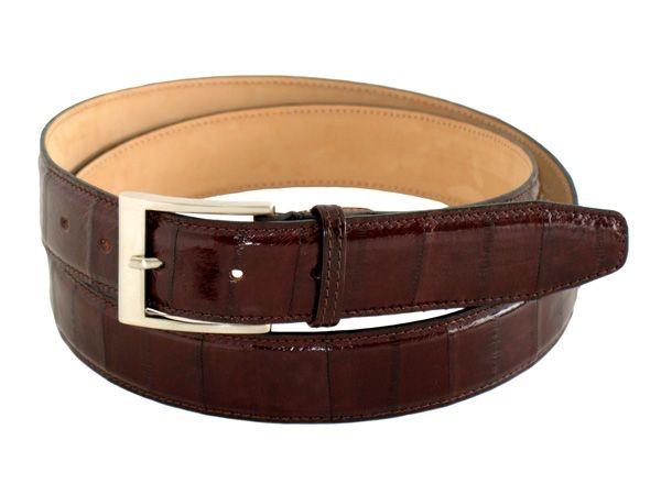 Dark brown genuine eel men's belt buckle satined heigth 1,37 inch