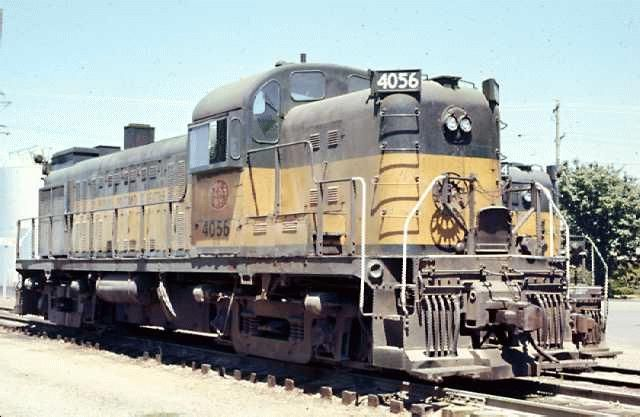 Spokane, Portland and Seattle (BN) RS3 4056 at Albany, OR in 7/72.  Another example of an early RS3 (most RS3's built had this carbody style).  RS3's were built from 5/50 until 2/57, when production shifted to the RS11.