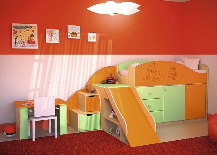 Vitamin P Набор мебели для детской  Детская Витамин-P - это современная недорогая детскаямебель для детей и подростков мальчика и девочки. Создайте уютную обстановку в детской подростковой комнате.       Набор мебели для детской Vitamin P - оригинальная Vitamin-ная детская.       Детская продается комплектом:   1. Кровать с горкой: 206х 118,5 х 70 cм   2. Стол растущий: 80х 60х 51,5 - 65 см     Спальное место:70 x 160 cм
