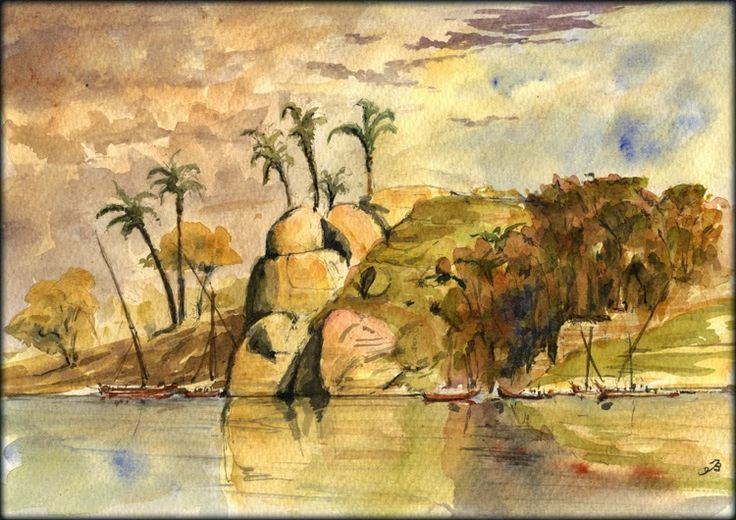 Aswan original watercolor painting by Juan Bosco 11 by 8 inches (29x21cm)