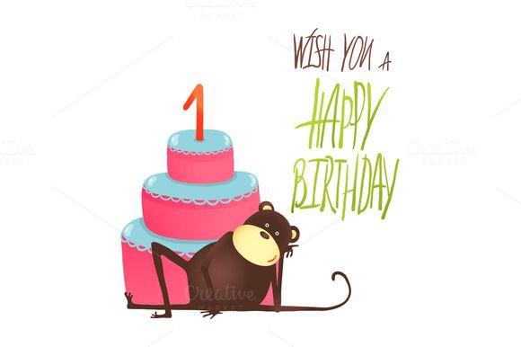 Monkey Cake One Year Old Birthday by Popmarleo Shop on Creative Market