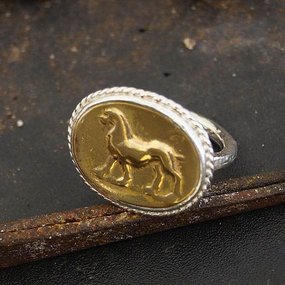 Hand Forged Coin Lion Ring Sterling Silver by Atlantisfinejewels