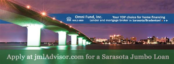 advert for Sarasota Jumbo Loans on the John Ringling Causeway