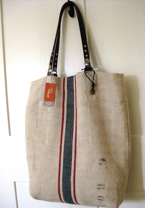 Grain Sack Tote Bag Burlap Red Blue Stripe  Leather