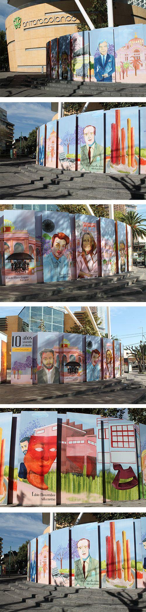 Puertas de Plaza Antara Polanco. Celebración de los 10 años de Casa Palacio.   Ilustración realizada por Nuria Díaz Ibánez.