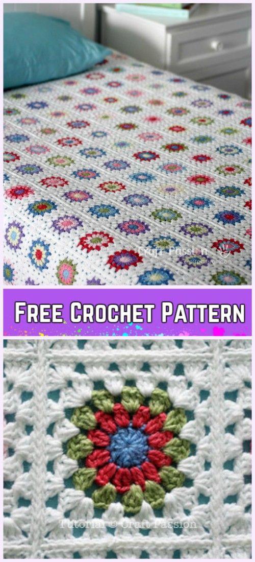 Crochet Sunburst Granny Square Blanket Free Pattern