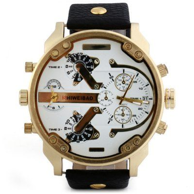 Shiweibao A3137 Big Dial Golden Case Male Dual Movt Quartz Watch with Leather Band-12.49 and Free Shipping  GearBest.com