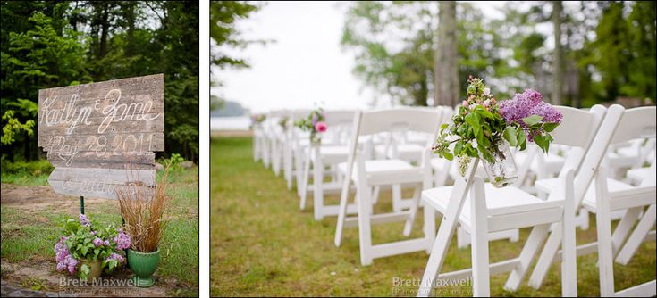 outdoor wedding arrival sign and flowers decorating aisle