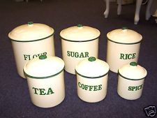 Enamel Ware 6 Canister Set Cream With Green Graniteware Rustic Vintage Style