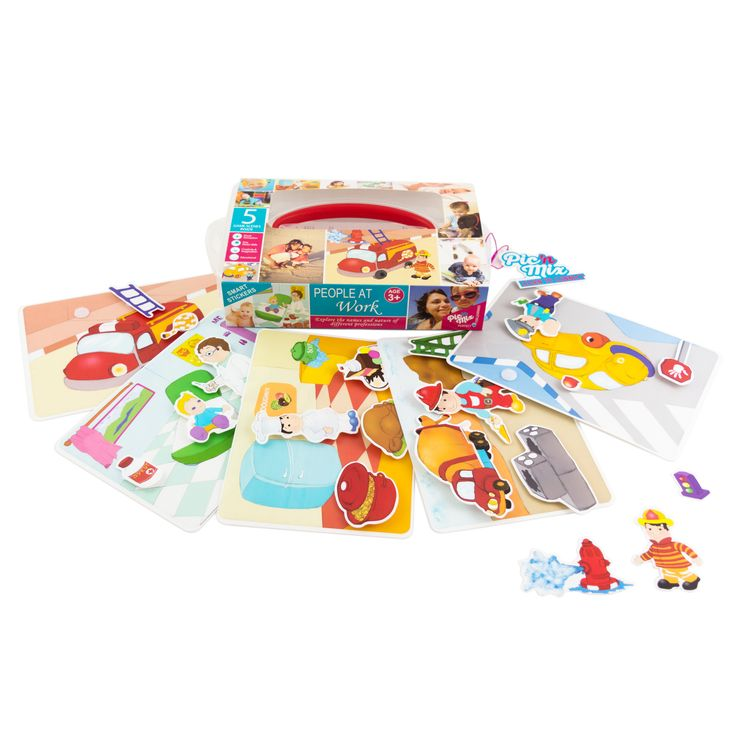 Picnmix- People at Work. 5 Story Cards. 5 Guide Cards. 23 game pieces to play match. Ages 3Y+