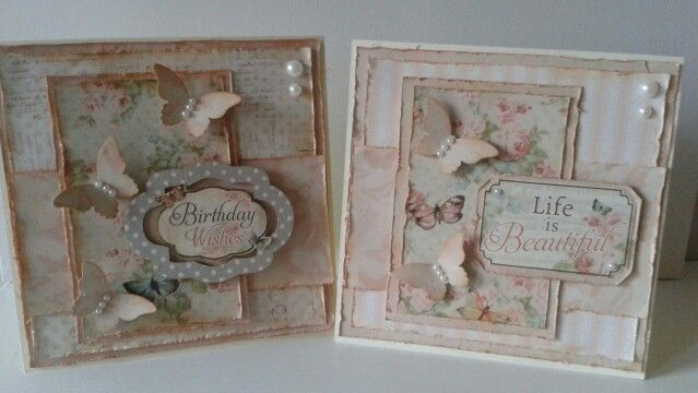 Birthday Cards using the dovecraft floral muse papers.