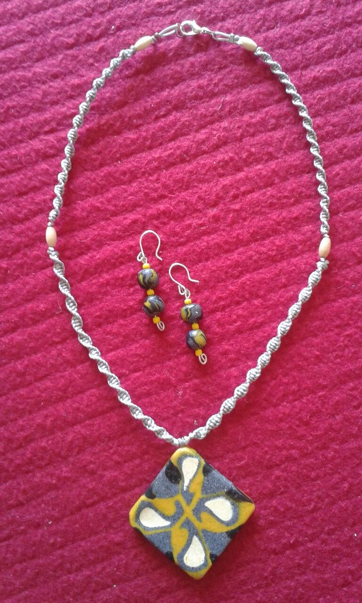 Clay pendant and earings on DNA macrame necklace.