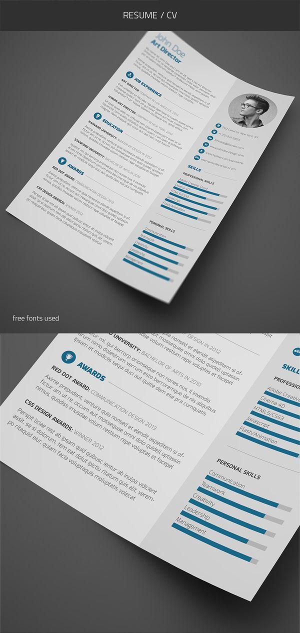 Cv Design Curriculum Vitae Pinterest