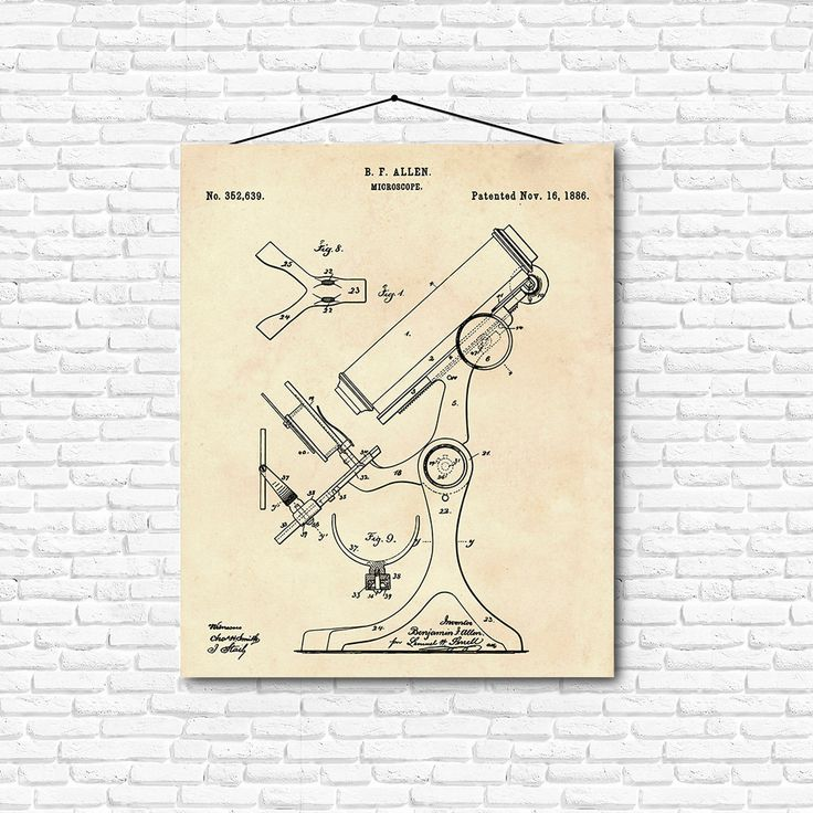 Microscope Patent Print- 1886 - Poster Wall art Illustration Print Art Home…