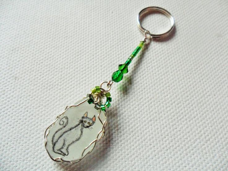 Cat and green bead animal hand painted bag charm/ keyring.  Hand painted sea glass by ShePaintsSeaglass on Etsy