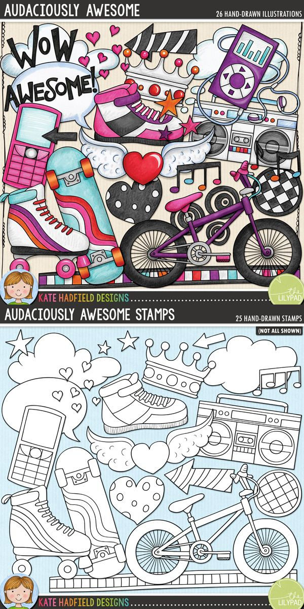 Tween and teen girl digital scrapbooking elements | Cute skater girl clip art | Hand-drawn clip art and line art for digital scrapbooking, crafting and teaching resources from Kate Hadfield Designs! Click through to see projects created using these illustrations!