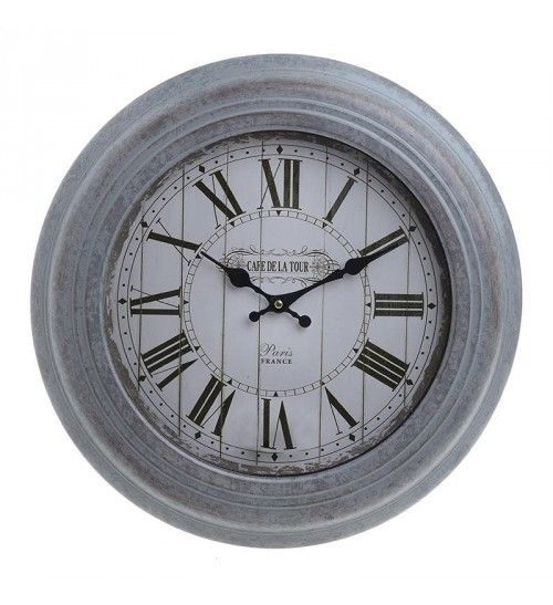 METALLIC WALL CLOCK IN ANTIQUE GREY COLOR D43X5