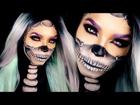 Half Skull Makeup Tutorial - Reattached Face Halloween Skull Makeup