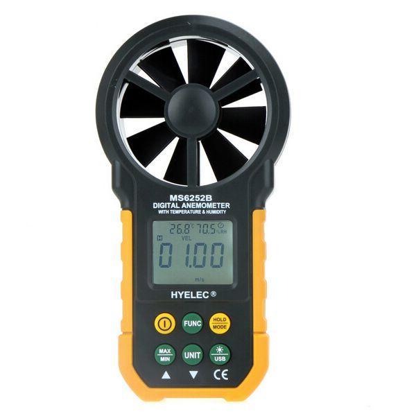 Medidor de prueba de velocidad de viento multímetro digital anemómetro tacómetro MS6252B Pico pico hyelec