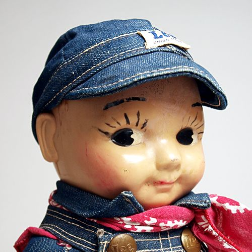 Buddy Lee doll wearing a red bandana 1940s Lee