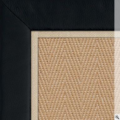 Jute Herringbone Rug. Border: Leather / Black. Piping: Cotton / Ivory (1cm)