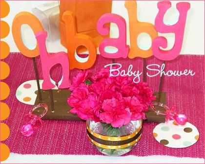 Design Dazzle Hot Pink and Orange Baby Shower » Design Dazzle