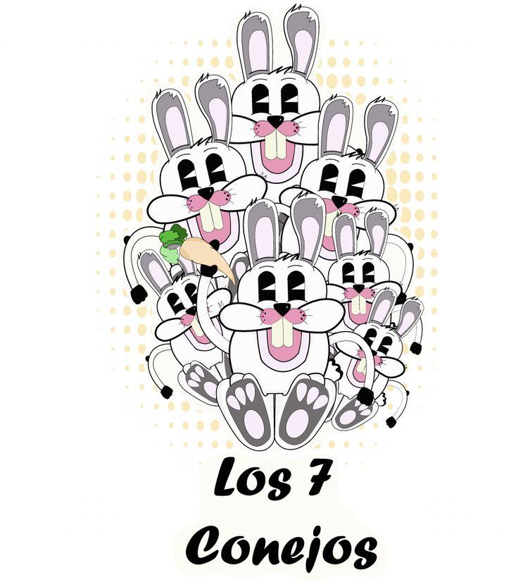 ilustración  para cuento infantil de los 7 conejos
