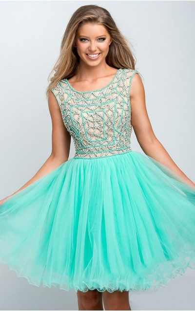 None Short Natural A-line Tulle Formal Dresses anbb2065