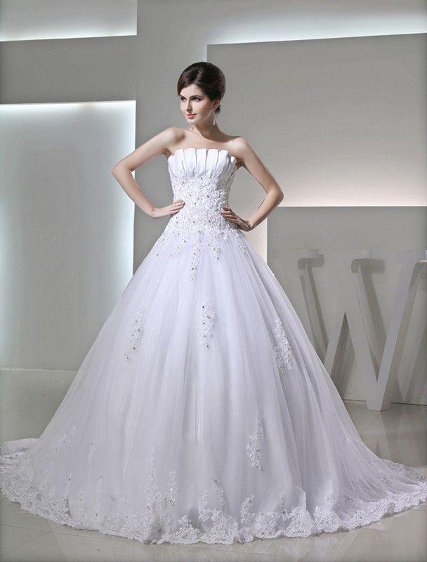 Ball Gown Beading Sleeveless Strapless Satin Applique Wedding Dresses DressyWell
