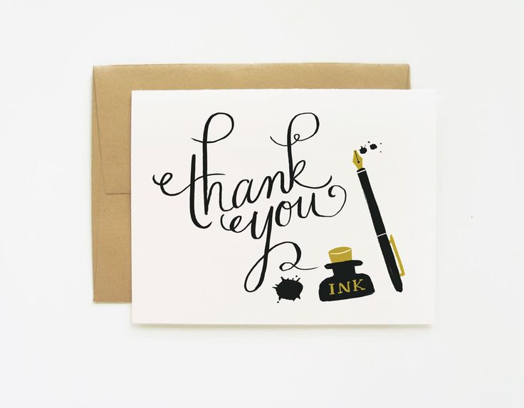 Ink and Blots Thank You Card 1pc. $4.00, via Etsy.