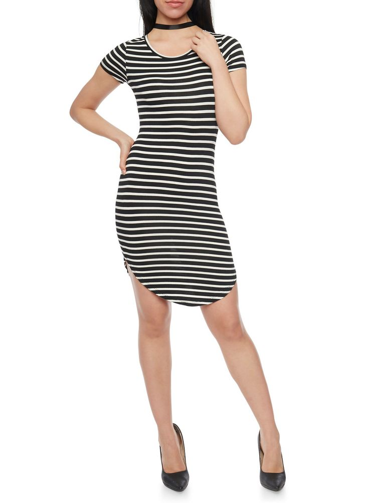Striped T Shirt Dress with Rounded Hem,BLACK/WHITE