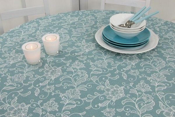 Tischdecke Abwaschbar Aqua Blutenranke Breite 100 Cm Oval Tischdecke Abwaschbar Tischdecke Tischdecken Oval